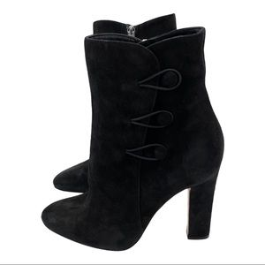 Gianvito Rossi Black Suede Buttoned Ankle Boots